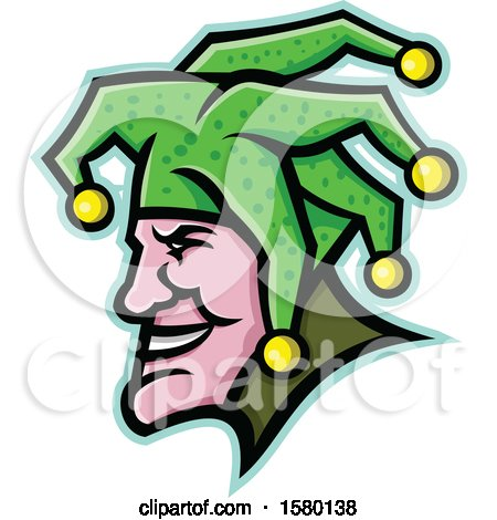 Clipart of a Profiled Harlequin Jester Mascot Face - Royalty Free Vector Illustration by patrimonio