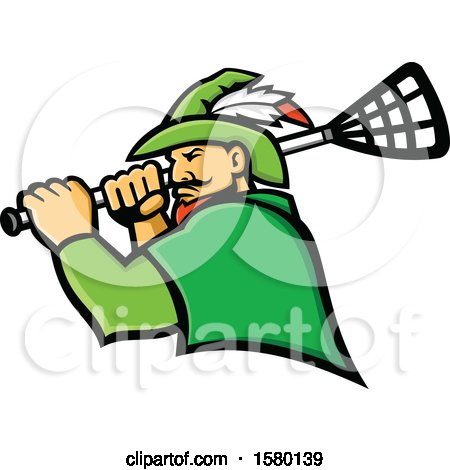 Clipart of a Tough Robin Hood Sports Mascot Holding a Lacrosse Stick - Royalty Free Vector Illustration by patrimonio
