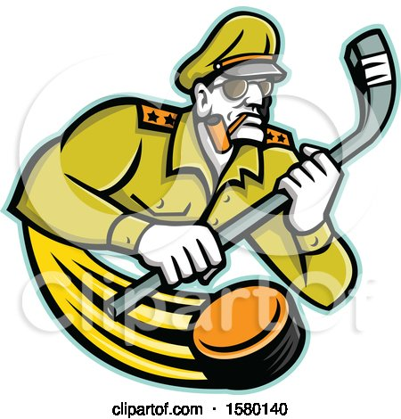 Clipart of a Tough Military Army General Sports Mascot Holding an Ice Hockey Stick, with a Flying Puck - Royalty Free Vector Illustration by patrimonio