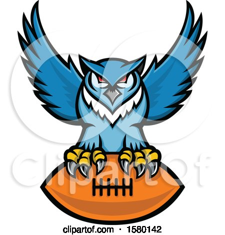Clipart of a Blue Great Horned Owl Sports Mascot Flying with an American Football - Royalty Free Vector Illustration by patrimonio