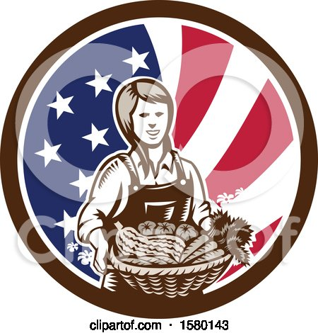 Clipart of a Retro Woodcut Female Farmer Holding a Basket of Produce in an American Flag Circle - Royalty Free Vector Illustration by patrimonio