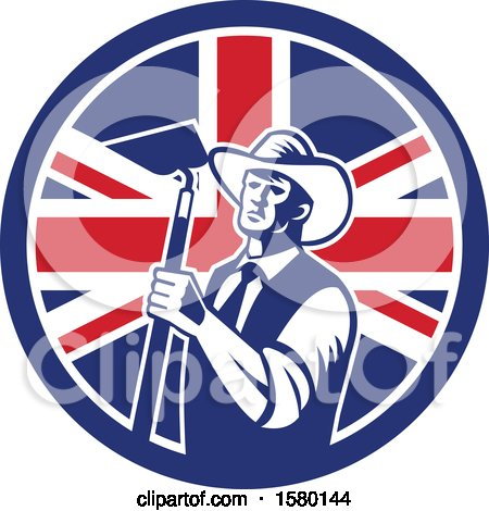 Clipart of a Retro Woodcut Cowboy Farmer Holding a Hoe in a Union Jack Flag Circle - Royalty Free Vector Illustration by patrimonio