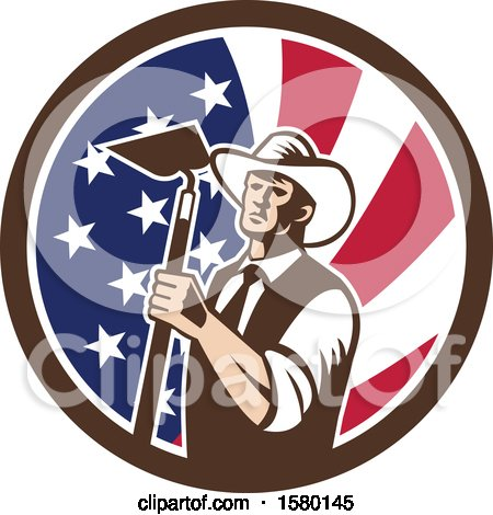 Clipart of a Retro Woodcut Cowboy Farmer Holding a Hoe in an American Flag Circle - Royalty Free Vector Illustration by patrimonio