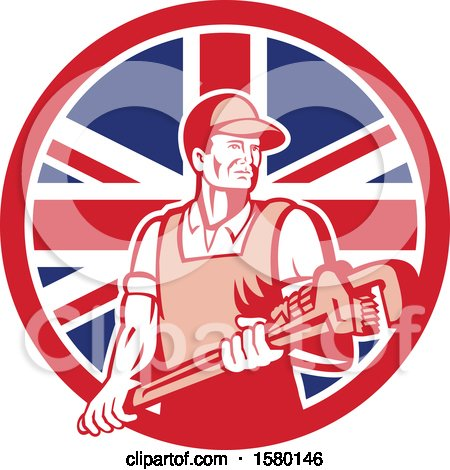 Clipart of a Retro Male Plumber Holding a Large Monkey Wrench in a Union Jack Flag Circle - Royalty Free Vector Illustration by patrimonio