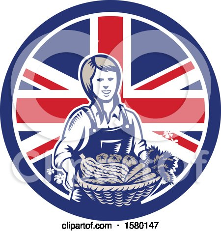 Clipart of a Retro Woodcut Female Farmer Holding a Basket of Produce in a Union Jack Flag Circle - Royalty Free Vector Illustration by patrimonio