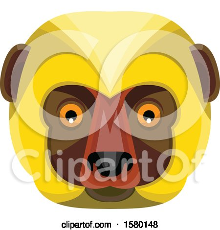 Clipart of a Diademed Sifaka Lemur Monkey Face Mascot - Royalty Free Vector Illustration by patrimonio