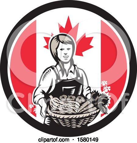 Clipart of a Retro Woodcut Female Farmer Holding a Basket of Produce in a Canadian Flag Circle - Royalty Free Vector Illustration by patrimonio