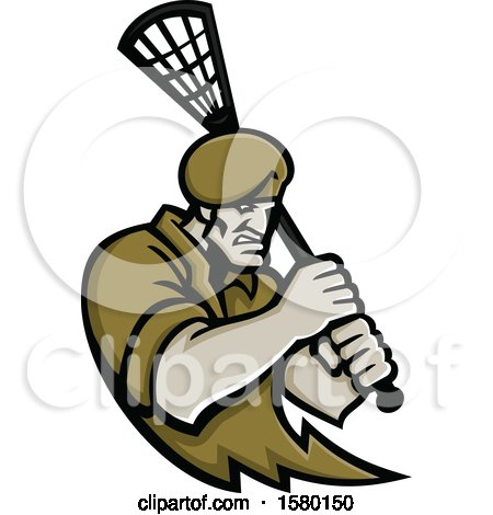 Clipart of a Tough Special Forces Soldier Sports Mascot Holding a Lacrosse Stick - Royalty Free Vector Illustration by patrimonio