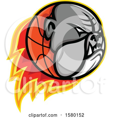 Clipart of a Bulldog Head on a Flaming Basketball Sports Mascot - Royalty Free Vector Illustration by patrimonio