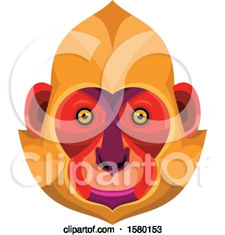 Clipart of a Cat Ba Langur Monkey Face Mascot - Royalty Free Vector Illustration by patrimonio