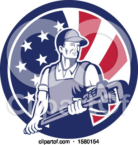Clipart of a Retro Male Plumber Holding a Large Monkey Wrench in an American Flag Circle - Royalty Free Vector Illustration by patrimonio