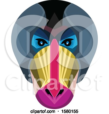 Clipart of a Mandrill Monkey Face Mascot - Royalty Free Vector Illustration by patrimonio