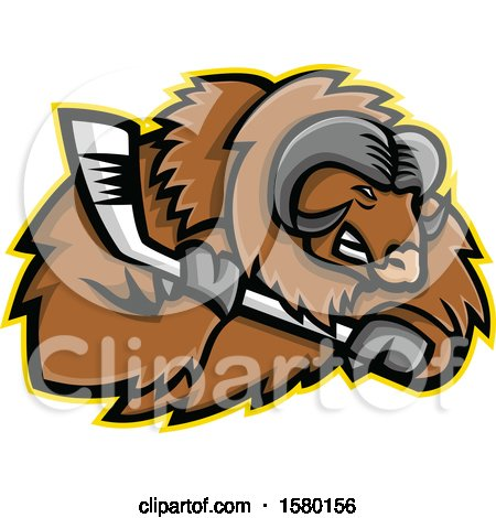 Clipart of a Tough Musk Ox Sports Mascot with an Ice Hockey Stick - Royalty Free Vector Illustration by patrimonio