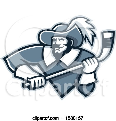 Clipart of a Tough Musketeer Sports Mascot Holding an Ice Hockey Stick - Royalty Free Vector Illustration by patrimonio