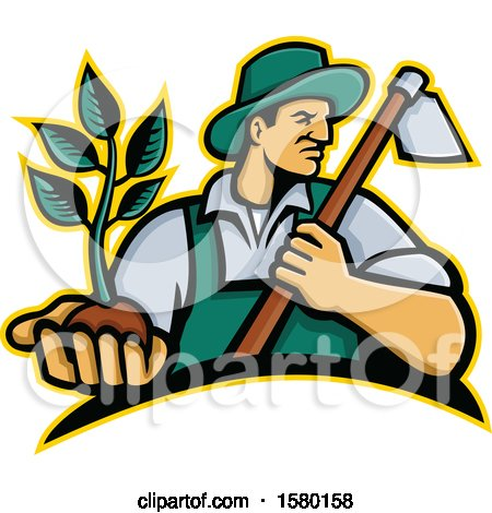 Clipart of a Male Farmer Holding a Hoe and Seedling Plant - Royalty Free Vector Illustration by patrimonio