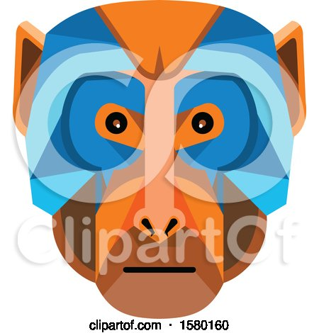 Clipart of a Rhesus Macaque Monkey Face Mascot - Royalty Free Vector Illustration by patrimonio