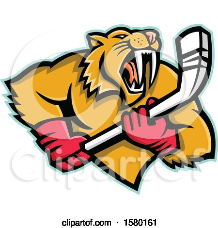 Clipart of a Tough Saber Toothed Cat Sports Mascot with an Ice Hockey Stick - Royalty Free Vector Illustration by patrimonio