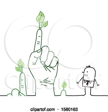 Clipart of a Happy Stick Man with a Giant Hand and Fingers with Leaves - Royalty Free Vector Illustration by NL shop