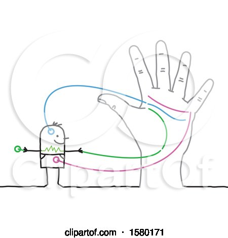 Clipart of a Stick Man Connected to a Hand - Royalty Free Vector Illustration by NL shop