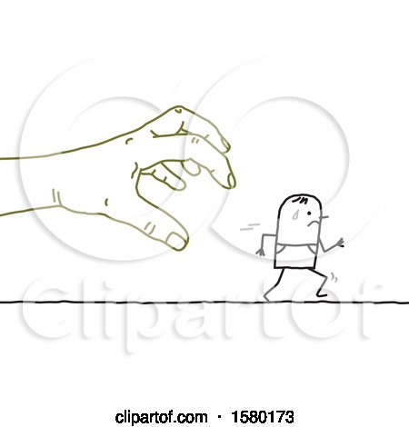 Clipart of a Stick Man Being Chased by a Giant Hand - Royalty Free Vector Illustration by NL shop
