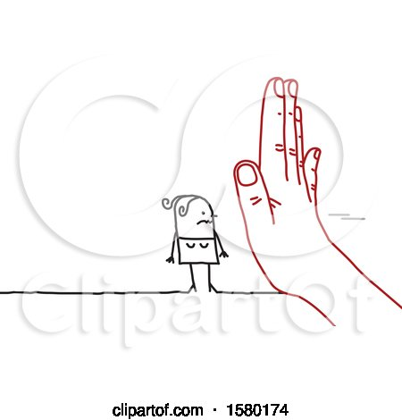 Clipart of a Stick Woman Blocked by a Giant Hand - Royalty Free Vector Illustration by NL shop