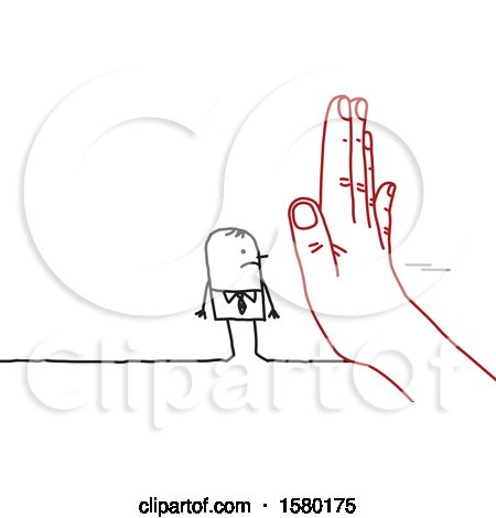 Clipart of a Stick Man Blocked by a Giant Hand - Royalty Free Vector Illustration by NL shop