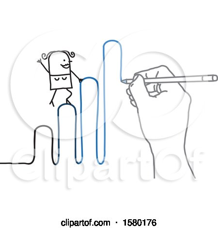 Clipart of a Stick Woman Climbing up a Graph As It Is Being Drawn by a Hand - Royalty Free Vector Illustration by NL shop