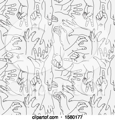 Clipart of a Background of Sketched Hands - Royalty Free Vector Illustration by NL shop