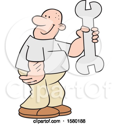 Clipart of a Cartoon Happy Man Holding a Giant Spanner Wrench - Royalty Free Vector Illustration by Johnny Sajem