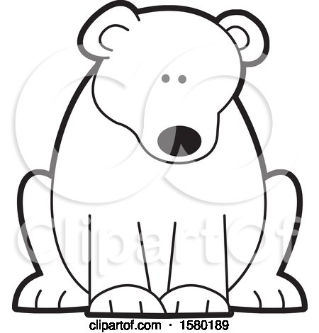 Clipart of a Black and White Sitting Bear - Royalty Free Vector Illustration by Johnny Sajem