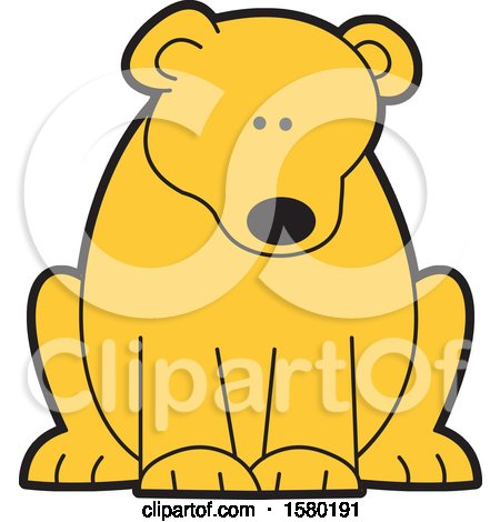 Clipart of a Cute Sitting Bear - Royalty Free Vector Illustration by Johnny Sajem