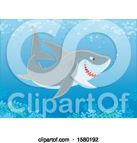 Clipart of a Shark Swimming over a Reef - Royalty Free Vector Illustration by Alex Bannykh