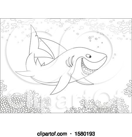 Clipart of a Black and White Shark Swimming over a Reef - Royalty Free Vector Illustration by Alex Bannykh