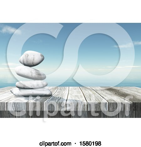 Clipart of a 3d Wood Surface with Stacked Stones over the Ocean - Royalty Free Illustration by KJ Pargeter
