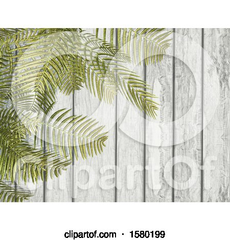 Clipart of a 3d Wood Background with Ferns - Royalty Free Illustration by KJ Pargeter
