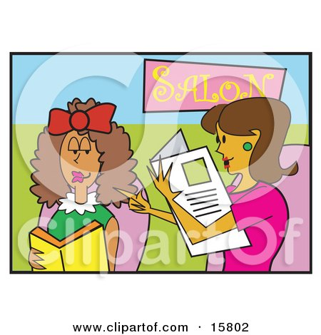 Couple Of Women Chatting In A Hair Salon Clipart Illustration by Andy Nortnik