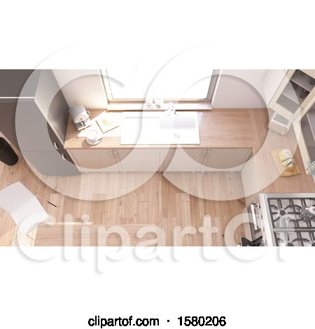 Clipart of a 3d Kitchen Room Interior - Royalty Free Illustration by KJ Pargeter