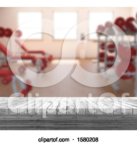 Clipart of a 3d Gym Interior - Royalty Free Illustration by KJ Pargeter