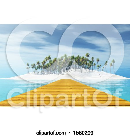 Clipart of a 3d Wooden Jetty and Tropical Island - Royalty Free Illustration by KJ Pargeter