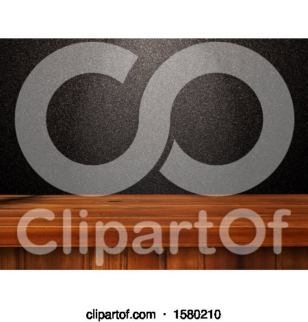 Clipart of a 3d Wood Counter with a Black Glittery Wall - Royalty Free Illustration by KJ Pargeter