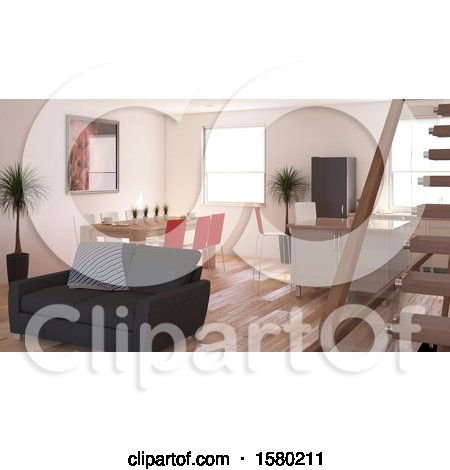 Clipart of a 3d Living Room Interior - Royalty Free Illustration by KJ Pargeter