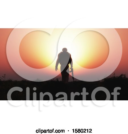 Clipart of a 3d Silhouetted Soldier Against a Sunset - Royalty Free Illustration by KJ Pargeter