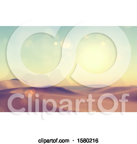 Clipart of a 3d Desert Landscape - Royalty Free Illustration by KJ Pargeter