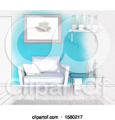Clipart of a 3d and Sketch Room Interior - Royalty Free Illustration by KJ Pargeter