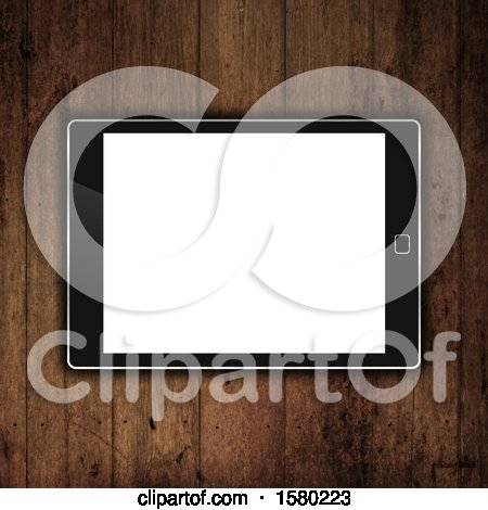 Clipart of a 3d Tablet on a Wood Desk - Royalty Free Illustration by KJ Pargeter