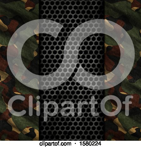 Clipart of a 3d Perforated Metal and Camouflage Background - Royalty Free Illustration by KJ Pargeter
