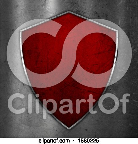 Clipart of a 3d Scratched Red Shield on Metal - Royalty Free Illustration by KJ Pargeter