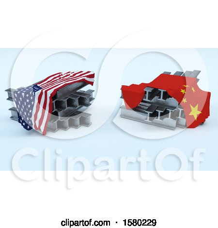 Clipart of 3D Steel Beams with American and Chinese Flags, Import Tarrifs - Royalty Free Illustration by KJ Pargeter
