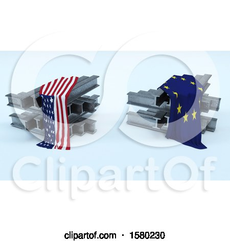 Clipart of 3D Steel Beams with American and Eu Flags, Import Tarrifs - Royalty Free Illustration by KJ Pargeter