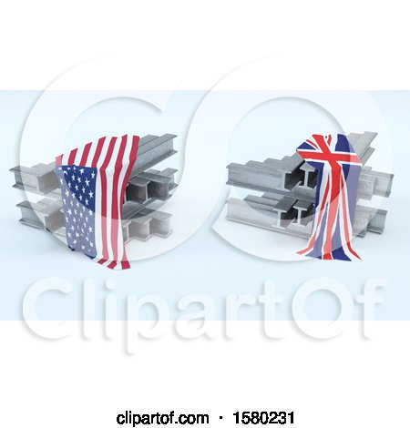 Clipart of 3D Steel Beams with American and Union Jack Flags, Import Tarrifs - Royalty Free Illustration by KJ Pargeter